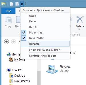 l'Explorateur de fichiers de Windows 8
