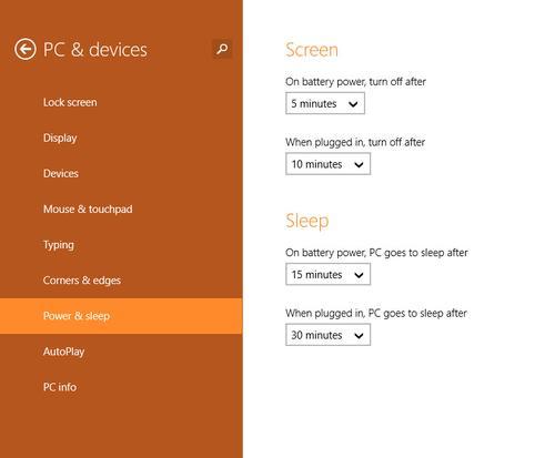 aumentar el tiempo de inactividad en Windows 8
