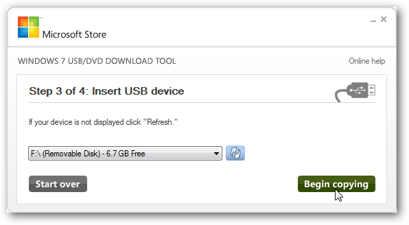 Windows 7 USB / DVD Download Tool
