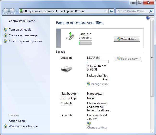 Respalda y restaura en Windows 7