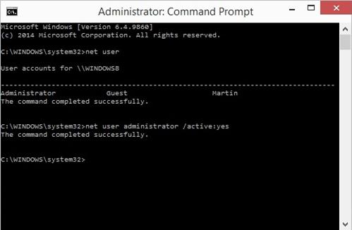 habilitar la cuenta de administrador oculta en Windows 10