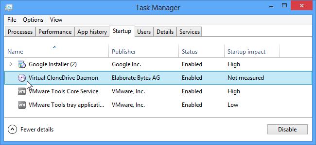 Desactivando Programas de Inicio en Windows 8 y windows 10