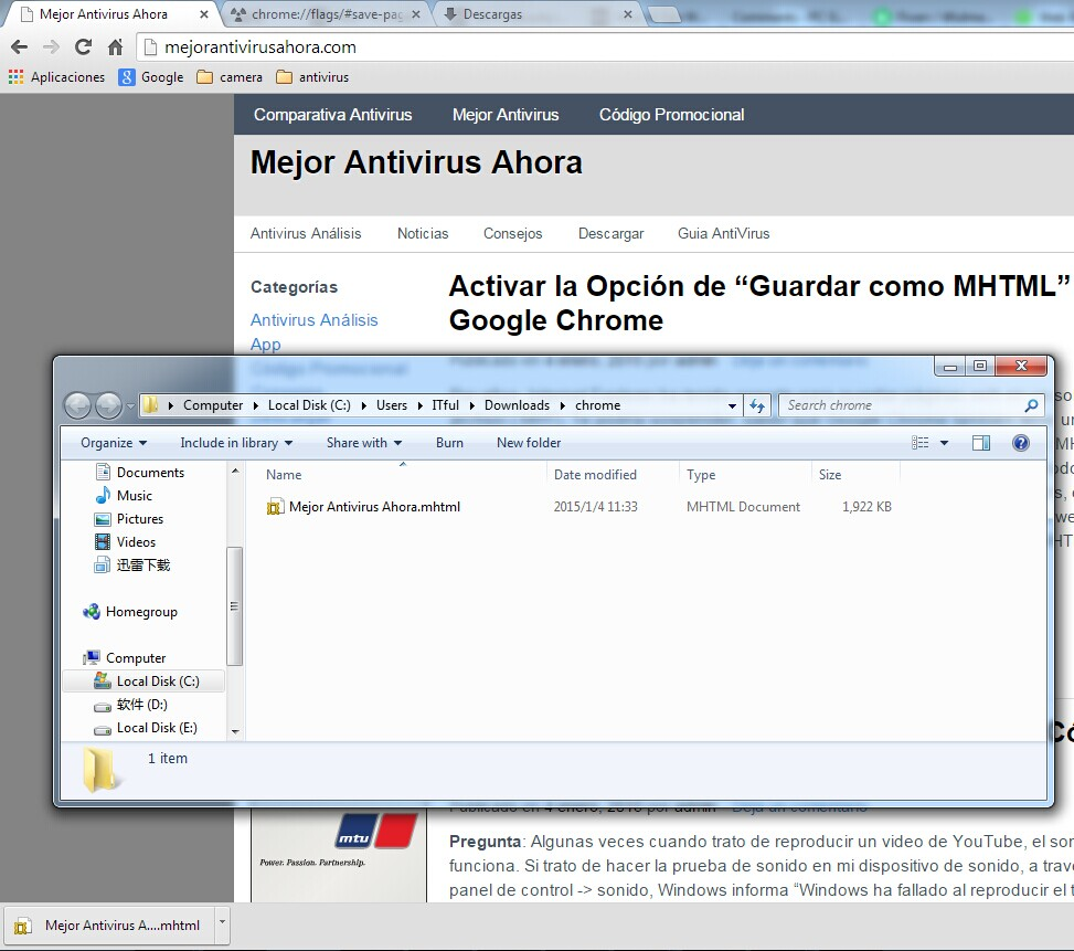 "Opción de ""Guardar como MHTML"" en Google Chrome"