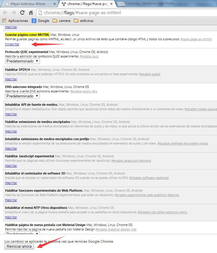 """Opción de """"Guardar como MHTML"""" en Google Chrome"""