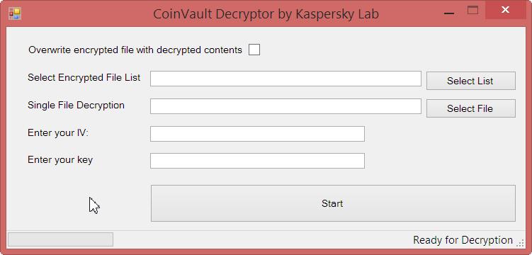 CoinVault Decryptor
