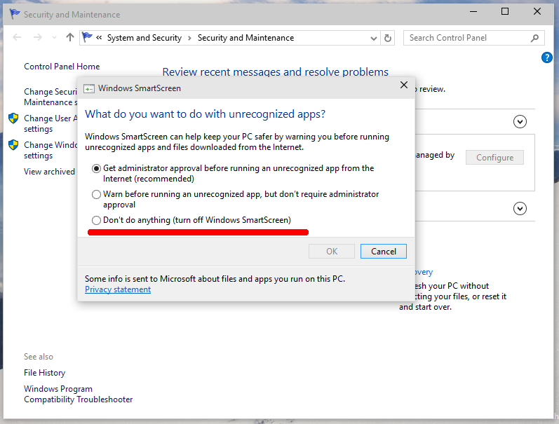 Windows SmartScreen en Windows 10