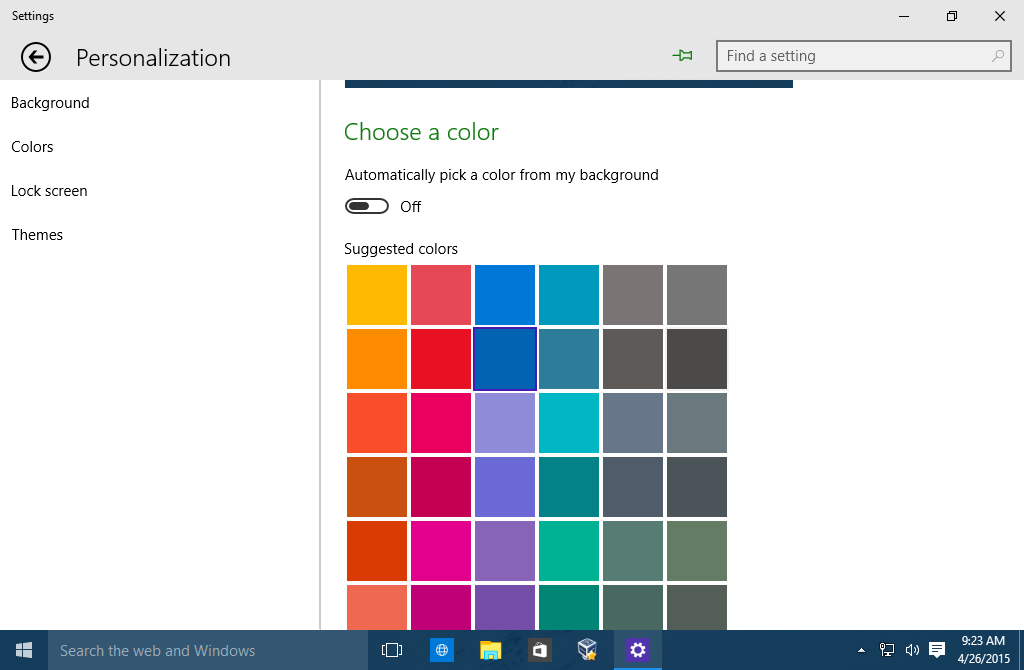 colores y la apariencia en windows 10