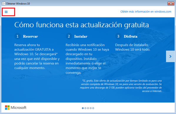 la reserva de Windows 10