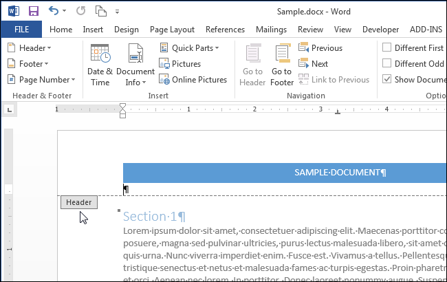 how to put different footers on each page word 2013