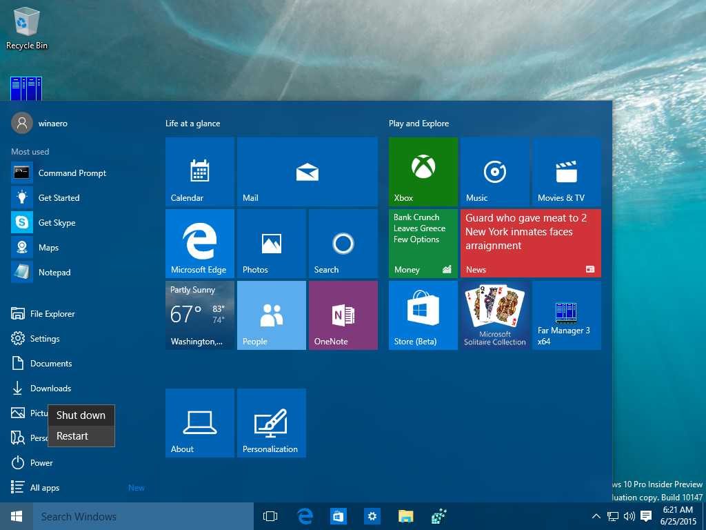 reiniciar y apagar Windows 10