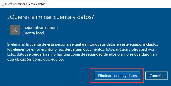 Usuario local en Windows 10