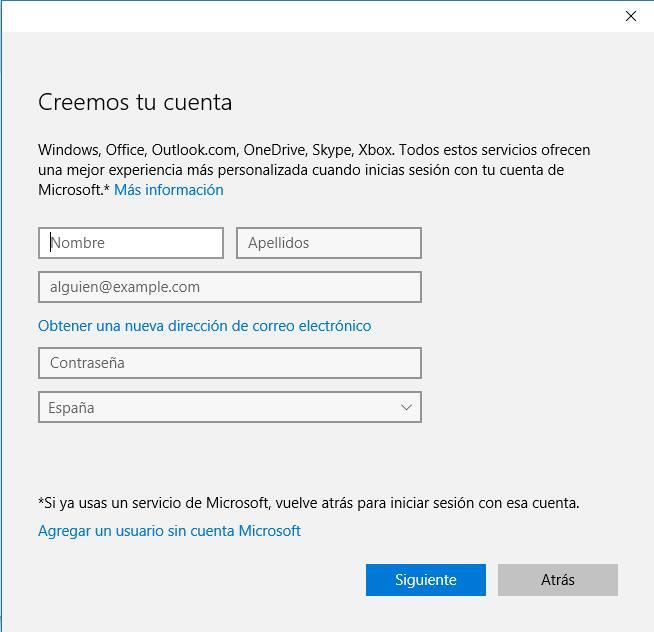 Usuario local en Windows 10