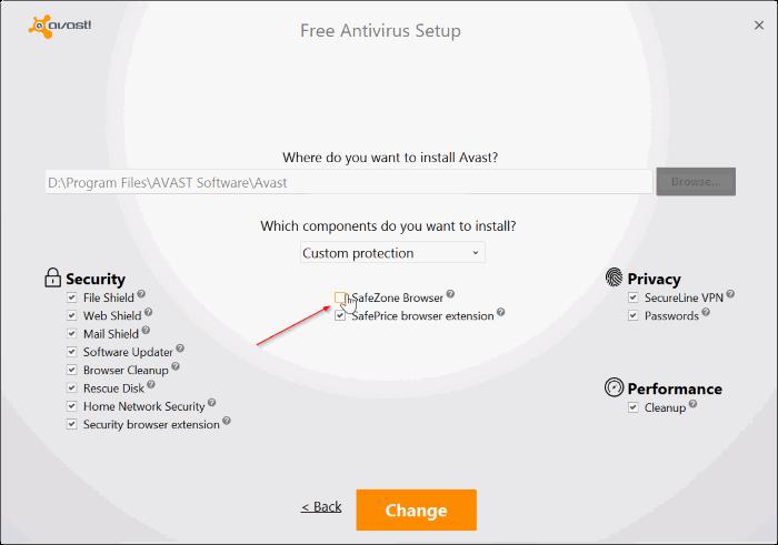 Navegador Avast SafeZone