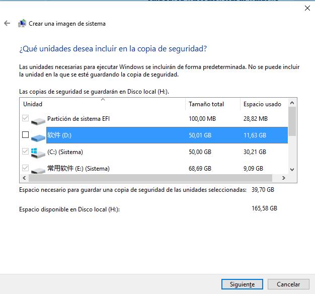 copia de seguridad de imagen en Windows 10