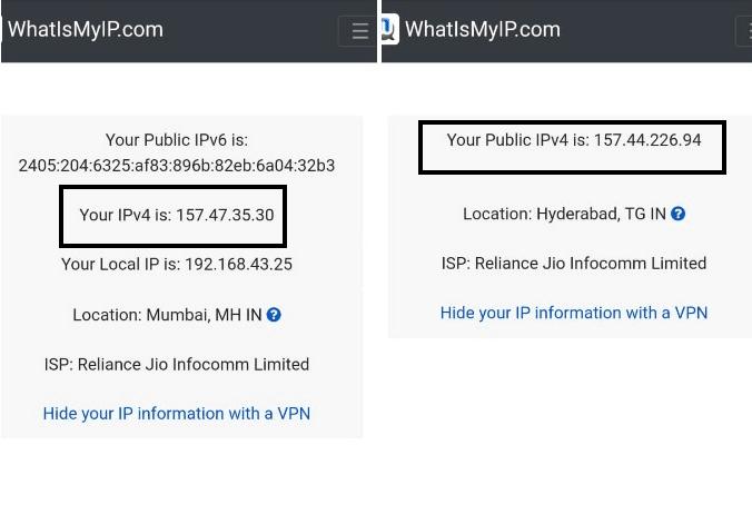 cambiar la dirección IP